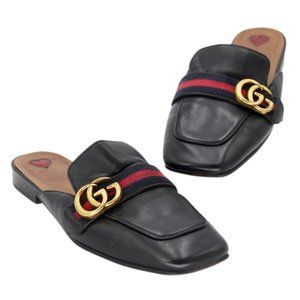 Gucci Marmont Gg Leather Princetown Mule Flats